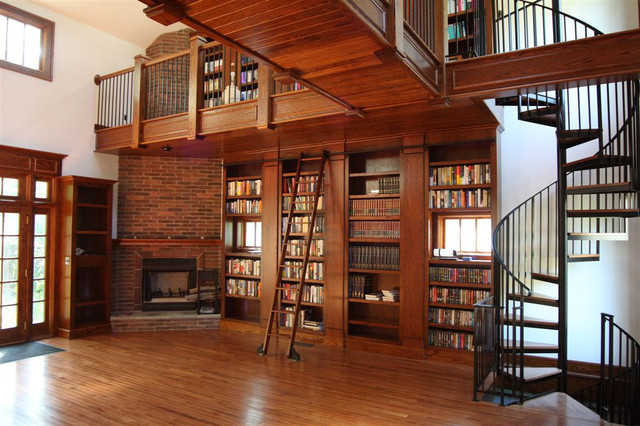 Rolling Library Ladder traditional-living-room
