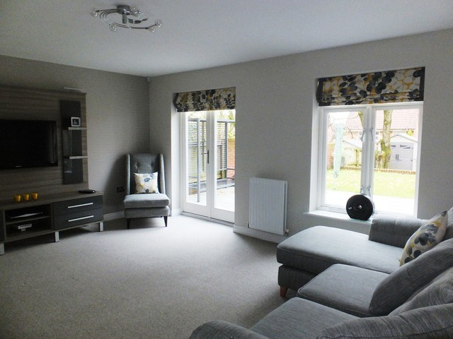 Roman Blinds Contemporary Living Room