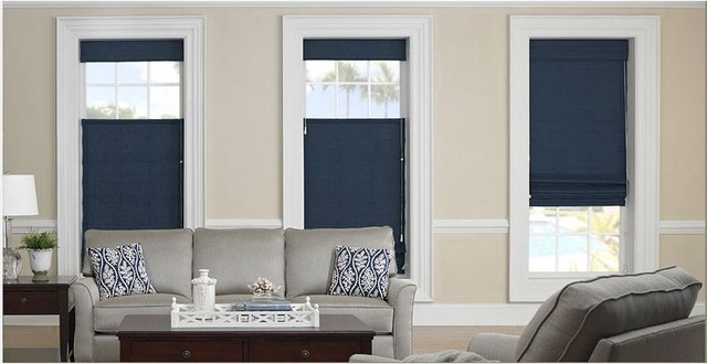 Roman Shades- 3 Day Blinds- Living Room traditional-living-room