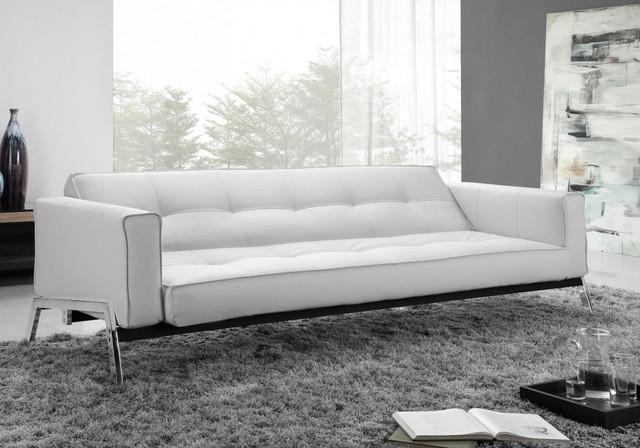 Romano Modern Convertible Sofa in White Eco-Leather - Modern ...