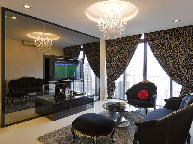 Romantic glamour living room contemporary living for Glam modern living room