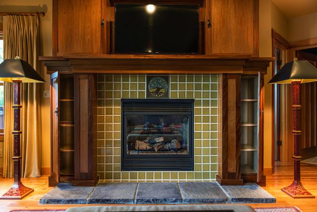 Rookwood tile fireplace craftsman living room for Craftsman fireplace designs