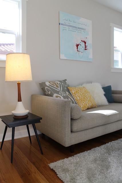 room and board jasper studio sofa and mid century lamp. Black Bedroom Furniture Sets. Home Design Ideas