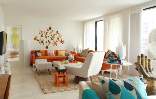 Orange decorations: be part of the trend contemporary living room