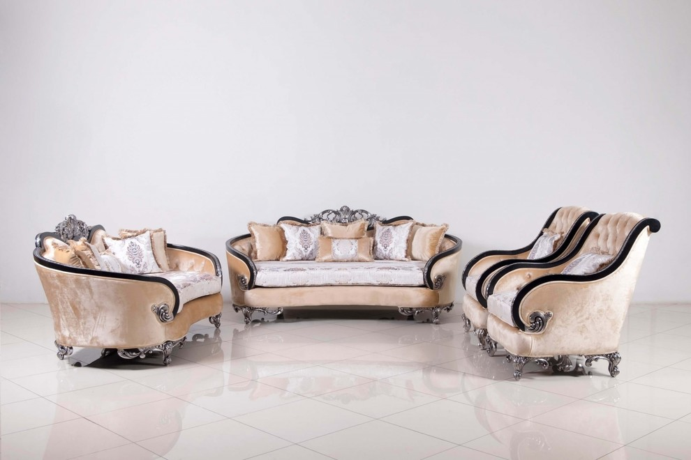 Rosabella Luxury Sofa Set Black Silver Victorian Living Room Los Angeles By European Furniture