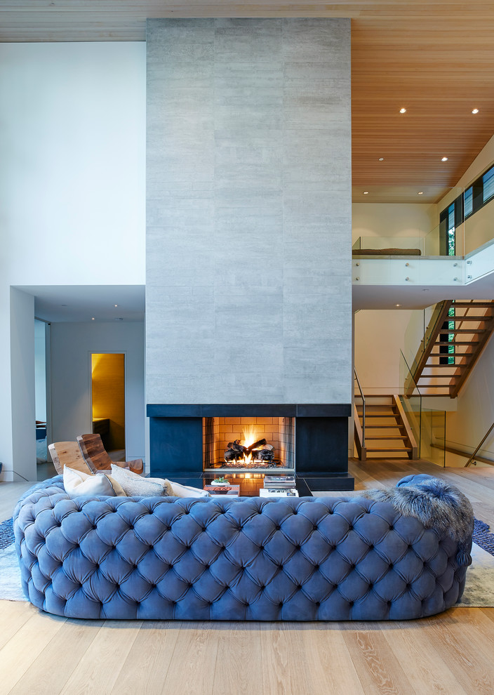 Mid-sized trendy open concept and formal light wood floor living room photo in Vancouver with white walls, a ribbon fireplace and a tile fireplace