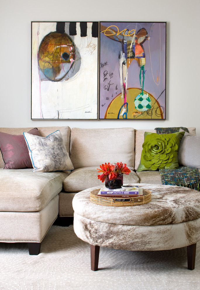 Living room - transitional formal living room idea in Toronto with white walls