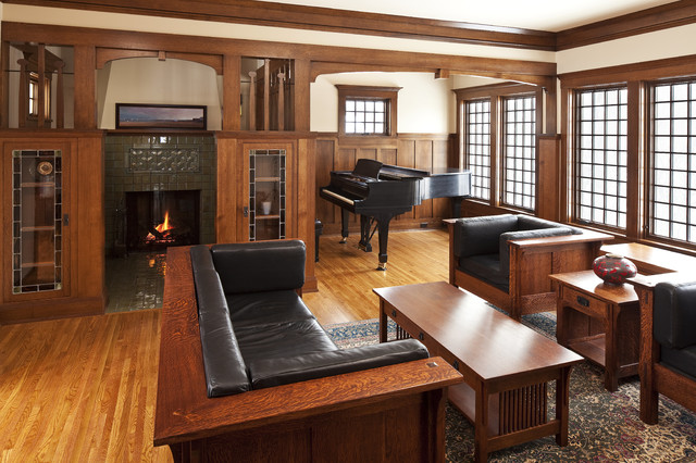 Example Of An Arts And Crafts Enclosed Living Room Design In Other With A  Music Area