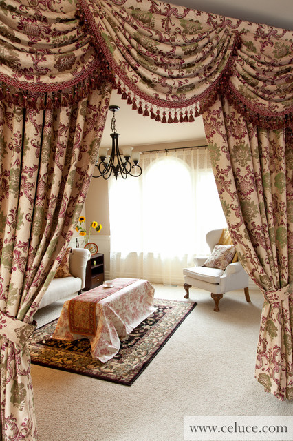 Rosy queen swag valances window treatment by for Living room valances and swags