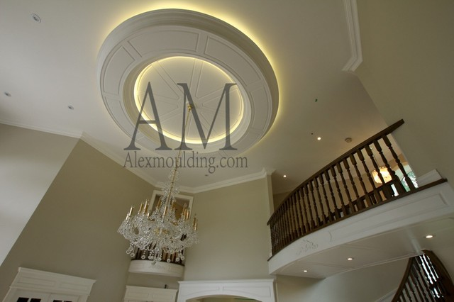 round coffered ceiling traditional living room
