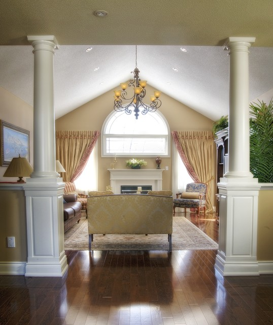 Round Wood Tapered Smooth Columns Traditional