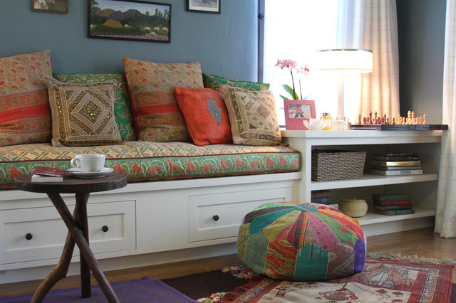 living room with bench rowena built in bench eclectic living room los 16658