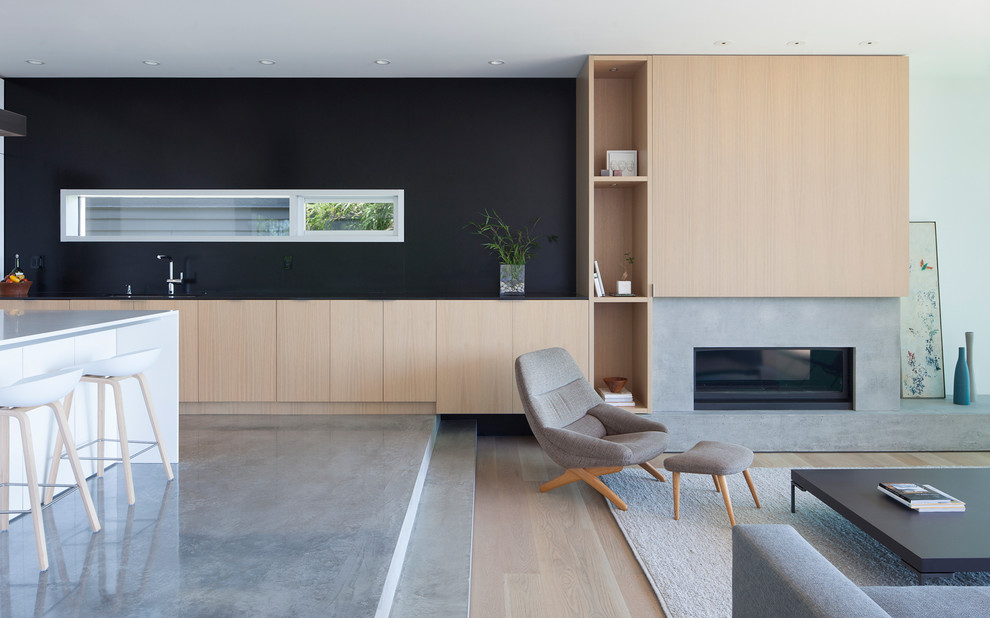 Living room - modern formal and open concept concrete floor living room idea in Vancouver with black walls, a ribbon fireplace and a concrete fireplace
