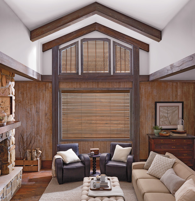Rustic Brown Living Room Custom Window Wood Blinds By Hunter Douglas Rustic Living Room By Linen Chest Houzz Uk