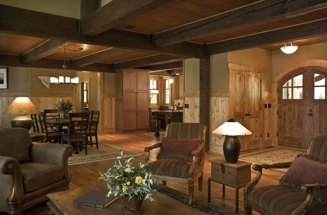 Rustic Cabin Living Room Minneapolis By Nancekivell Home Planning Design