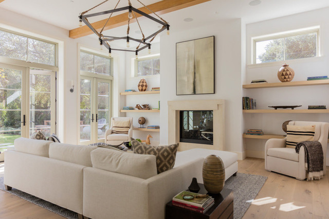 Living room - cottage living room idea in Los Angeles