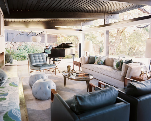 rustic canyon retreat - midcentury - living room - san francisco