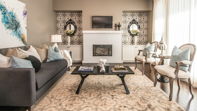 Rustic chic eclectic living room calgary by alykhan velji design - Rustic chic living room ...