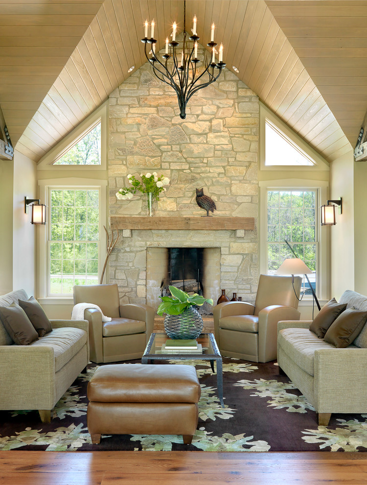 Trendy living room photo in St Louis with beige walls