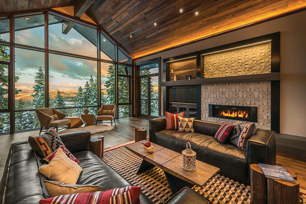 Inspiration for a large rustic formal and open concept living room remodel in Other with beige walls, a ribbon fireplace, a stone fireplace and no tv