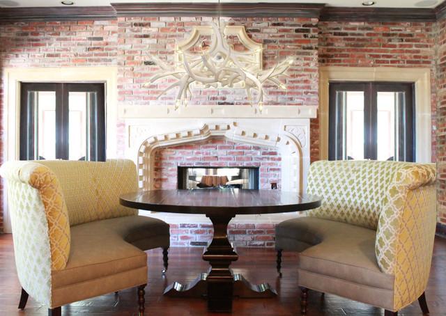 Rustic elegance abode traditional living room dallas for Rustic elegant living room