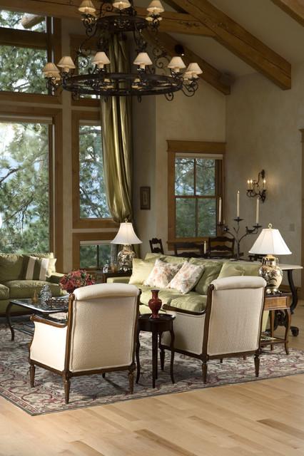 Rustic elegance log siding timber home for Rustic elegant living room