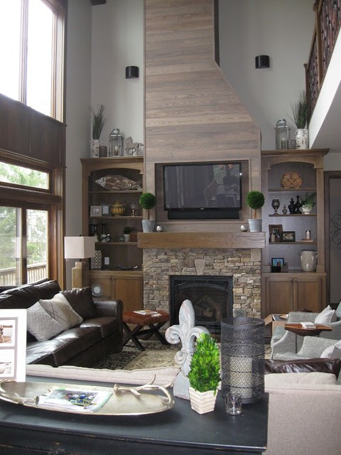 Rustic elegant great room rustic living room dc for Rustic elegant living room
