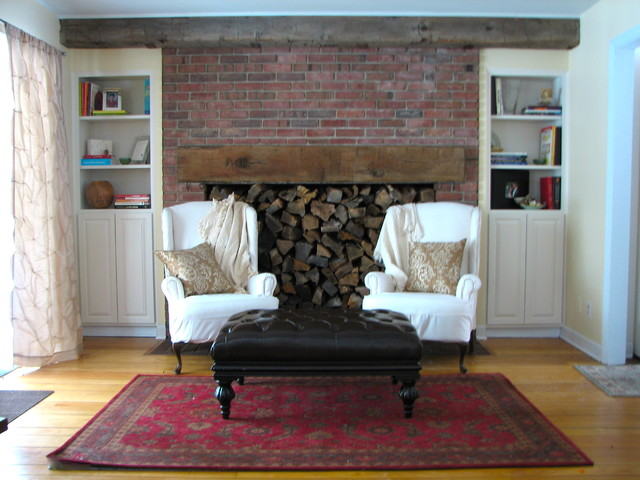 traditional living room Rustic Fireplace