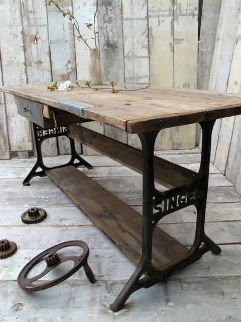 Rustic Industrial Console Table with Singer Legs - Rustic - Living Room - Other - by Unique Wood ...