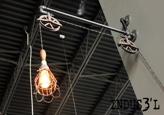 Rustic Industrial Pipe Pulley Wall Lamp With Work Light Living Room