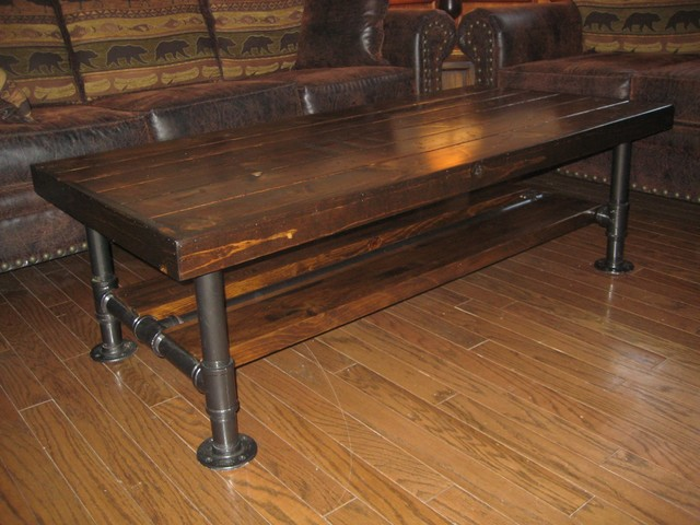 Rustic Industrial Reclaimed Wood U0026 Pipe Coffee Table Rustic Living Room