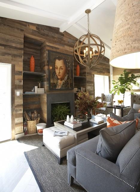 rustic living area contemporary living room