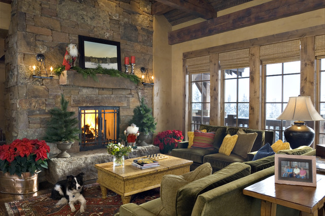 Living room - rustic living room idea in Other with beige walls and a standard fireplace