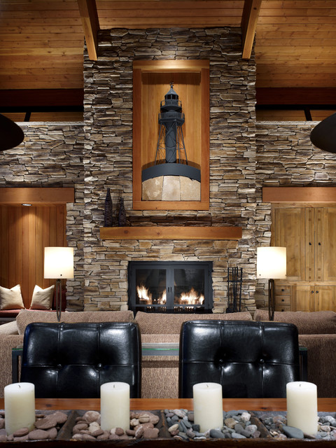 Cabin Stone Accent Wall Rustic Living Room Part 41