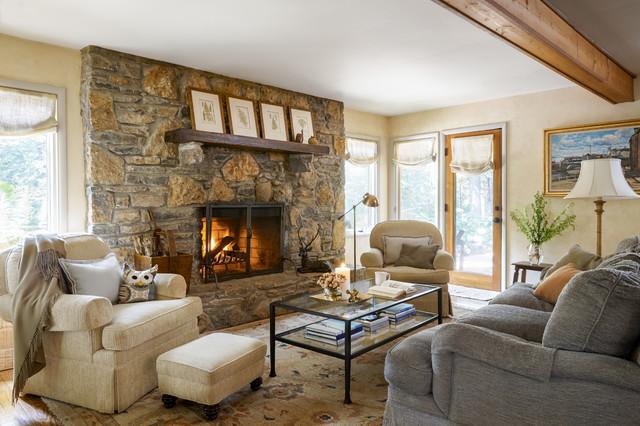 Rustic Living Room In Neutral Palette, Rustic Living Room