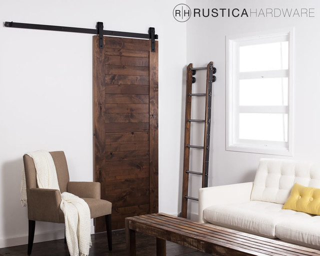Horizontal Slat Barn Door rustic-living-room & Horizontal Slat Barn Door