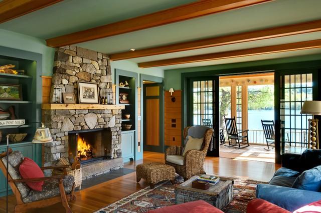 Summer Lake House Rustic Living Room Burlington By