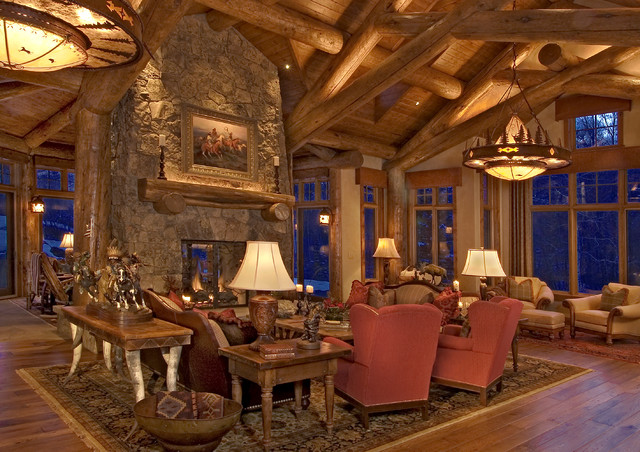 Rustic Log Home Traditional Living Room Denver By 186 Lighting Design