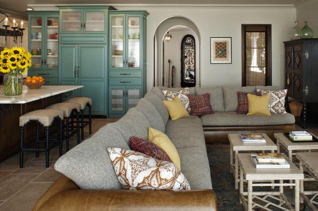 Rustic Mediterranean Beach Home Living Room