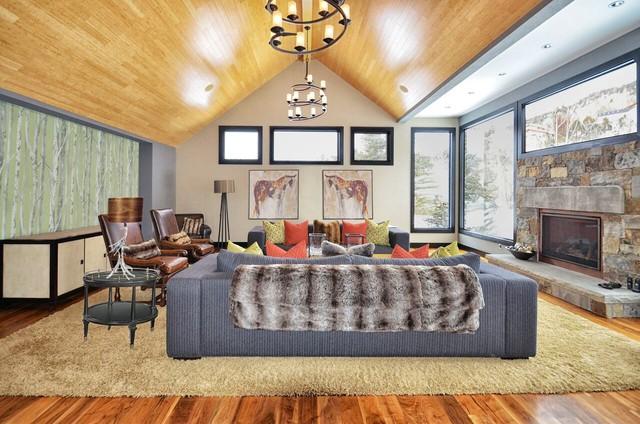 Rustic Modern Industrial Family Room - Rustic - Living ...