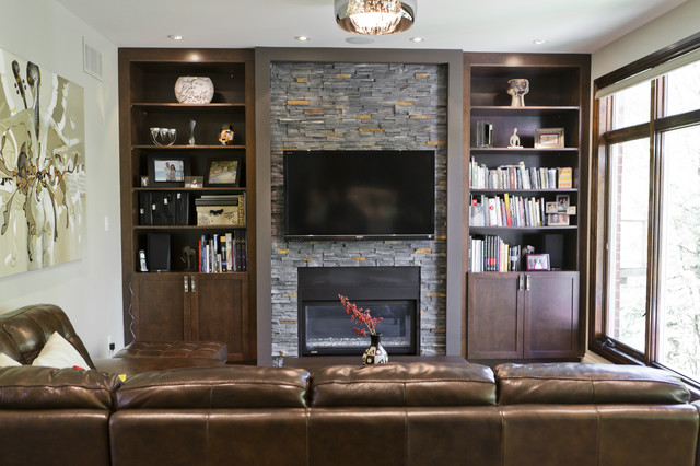 Rustic Modern Kitchen And Family Room Contemporary Living Room Toronto