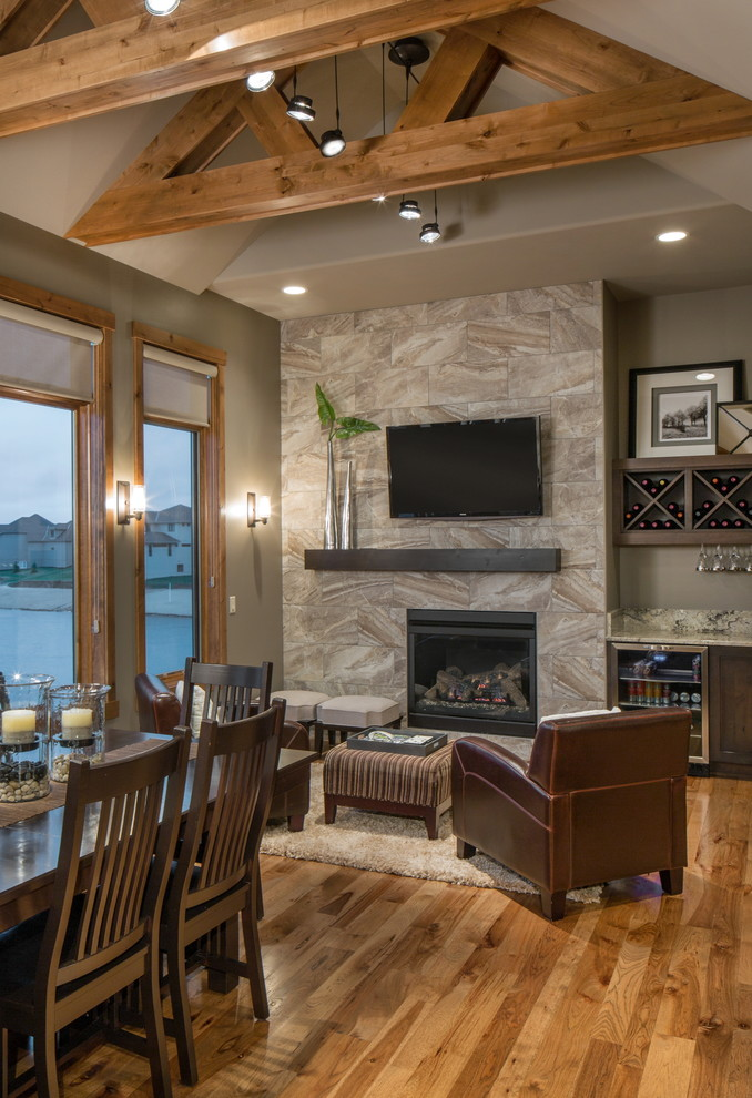 Transitional Living Room Design: Rustic Modern Lake House