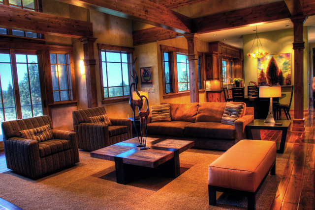 Rustic modern mountain retreat contemporary living Rustic modern living room design