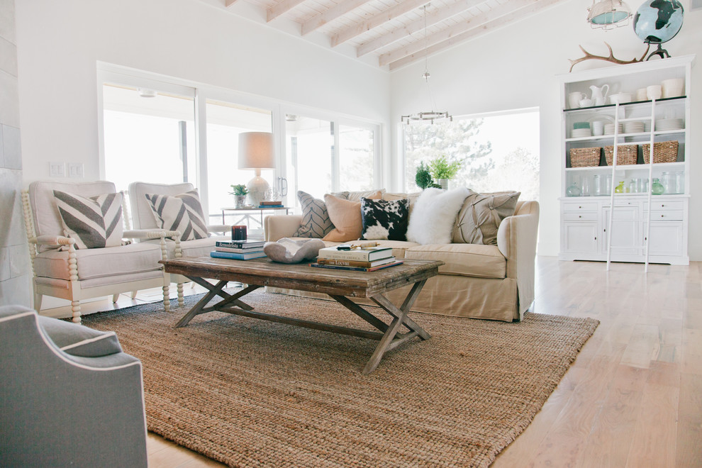 Mid-sized transitional formal and open concept light wood floor living room photo in Salt Lake City with white walls