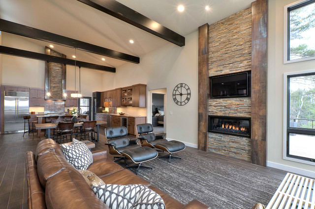 Rustic modern retreat rustic living room other metro Modern rustic living room