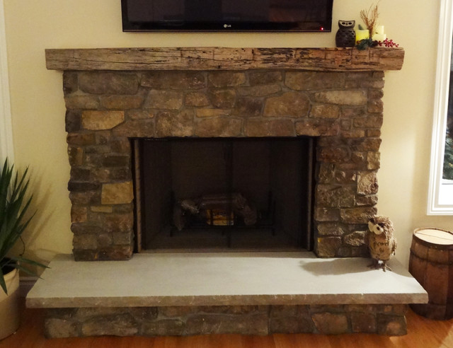 Rustic Natural Thin Stone Fireplace