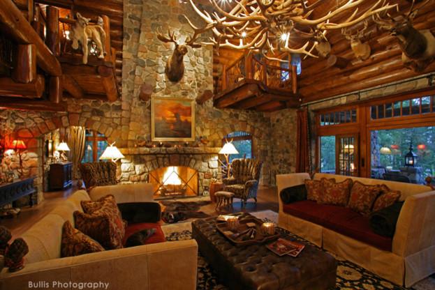 Rustic Old World Lodge rustic-living-room