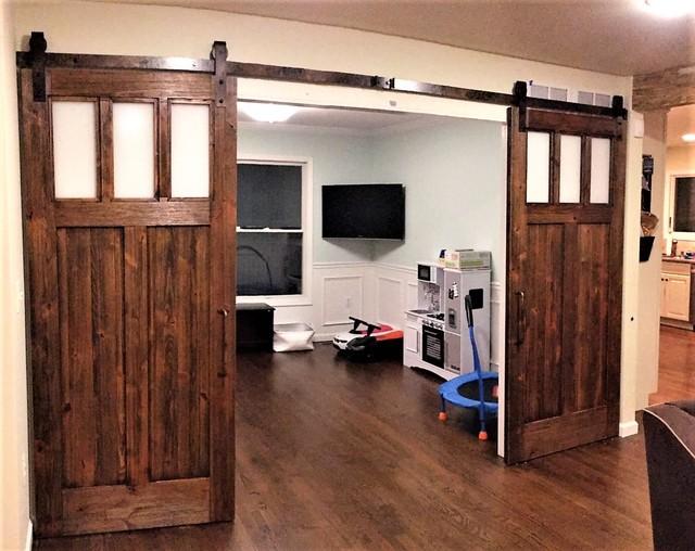 rustic living room sliding door | Rustic Sliding Barn Doors - Rustic - Living Room - Other ...