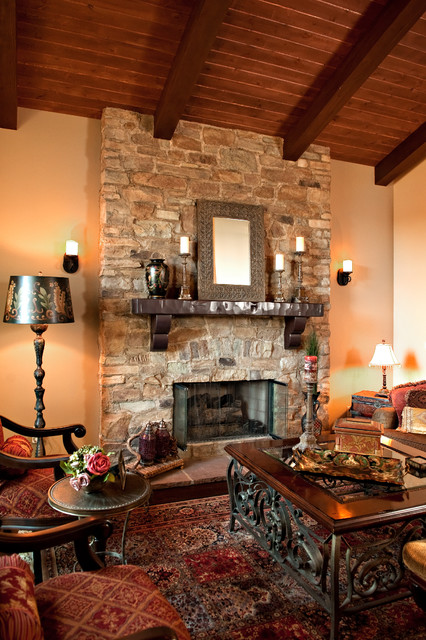 Rustic stone fireplace for Rustic rock fireplace designs