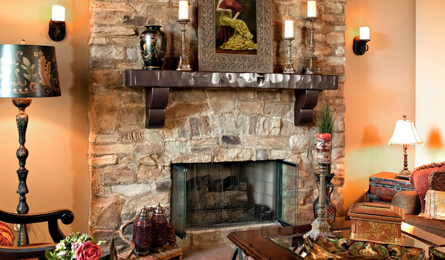 Rustic Stone Fireplace Rustic Living Room Los